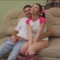 Fresh pig-tailed puss spreads her seductive long legs for her older brother